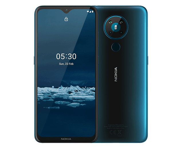 Смартфон Nokia NOKIA 5.3 DS TA-1234 3/64 CYAN, 6.55'' 1600x720, 1.8GHz, 8 Core, 3GB RAM, 64GB, up to 512GB flash, 13 МП + 2 МП + 5 МП + 2 МП/8Mpix, 2 Sim, 2G, 3G, LTE, BT v5.0, Wi-Fi, NFC, GPS, Beidou, Glonass, Type-C, 4000mAh, Android 10, 164,3 мм x 76.6 - интернет-магазин Skyey.ru